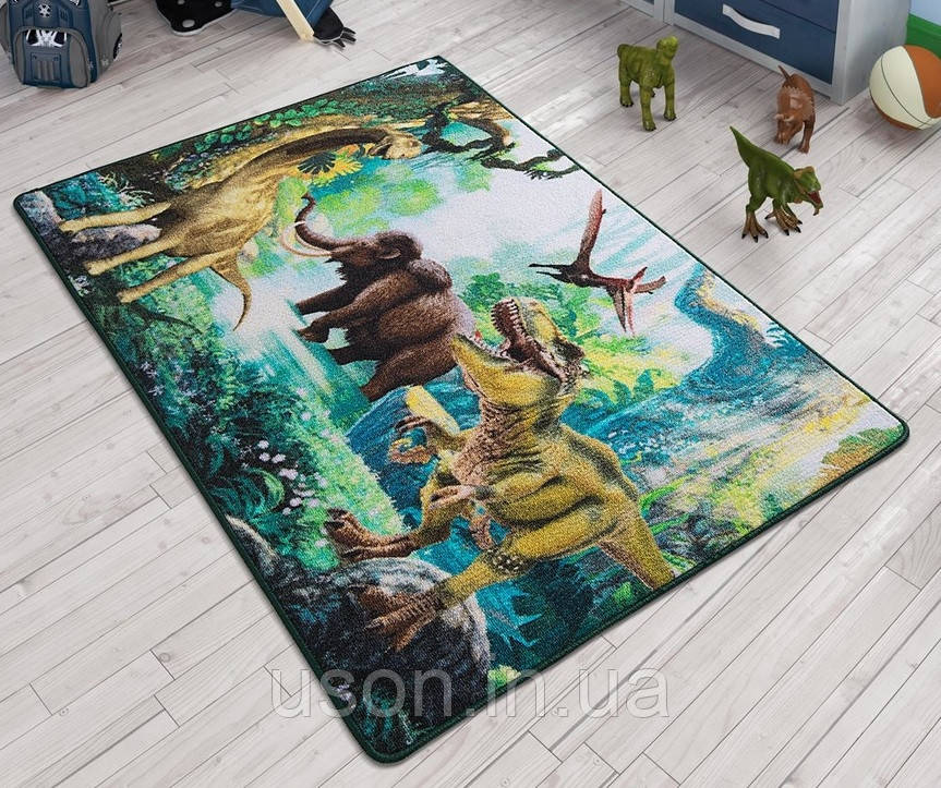 Напольный коврик в детскую комнату Confetti 100*150 Dinosaur зеленый