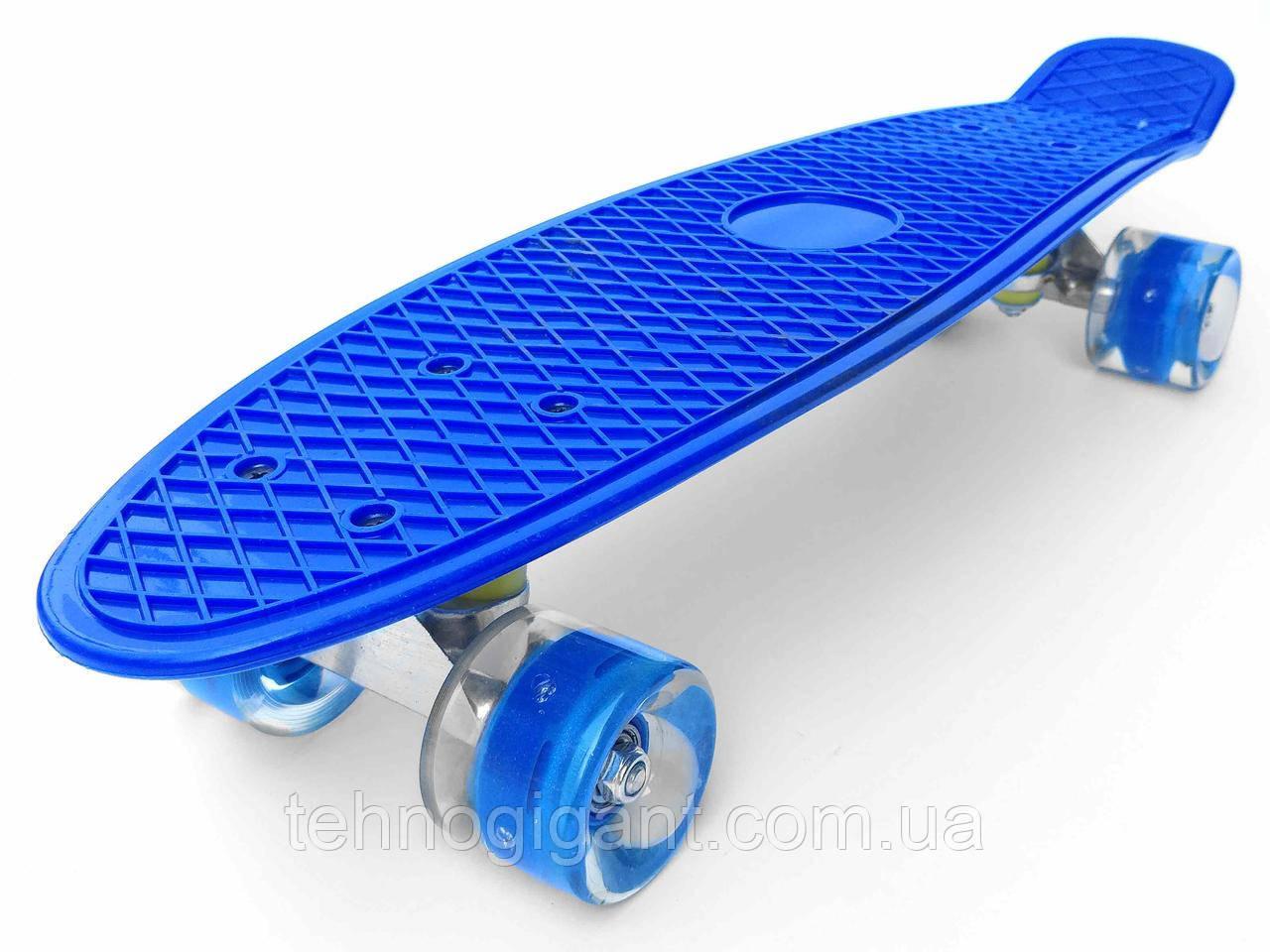 Скейт Penny Board, із широкими світлими колесами Пенні борд, дитячий , від 4 років, Колір Синій