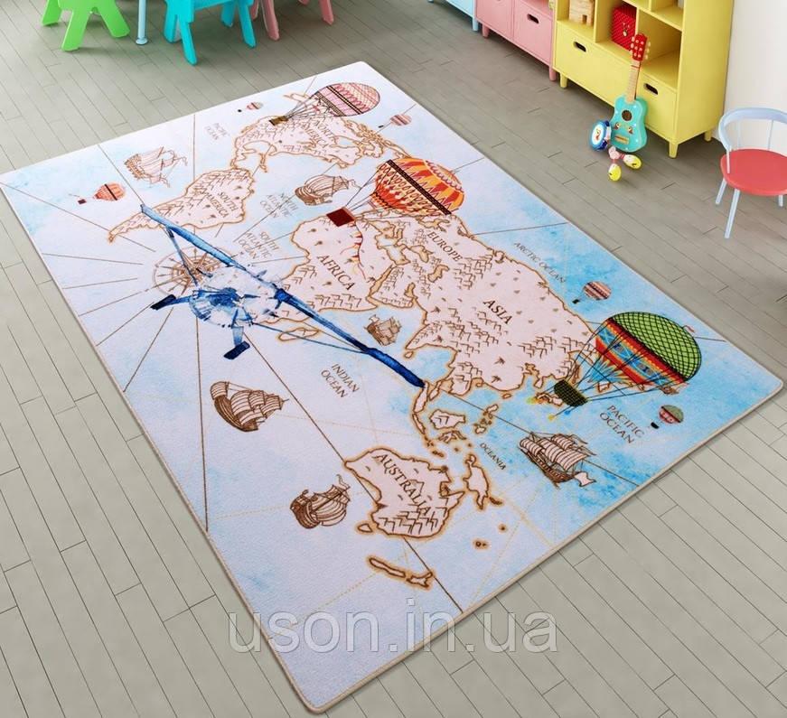 Напольный коврик в детскую комнату Confetti 100*150 Diskover голубой