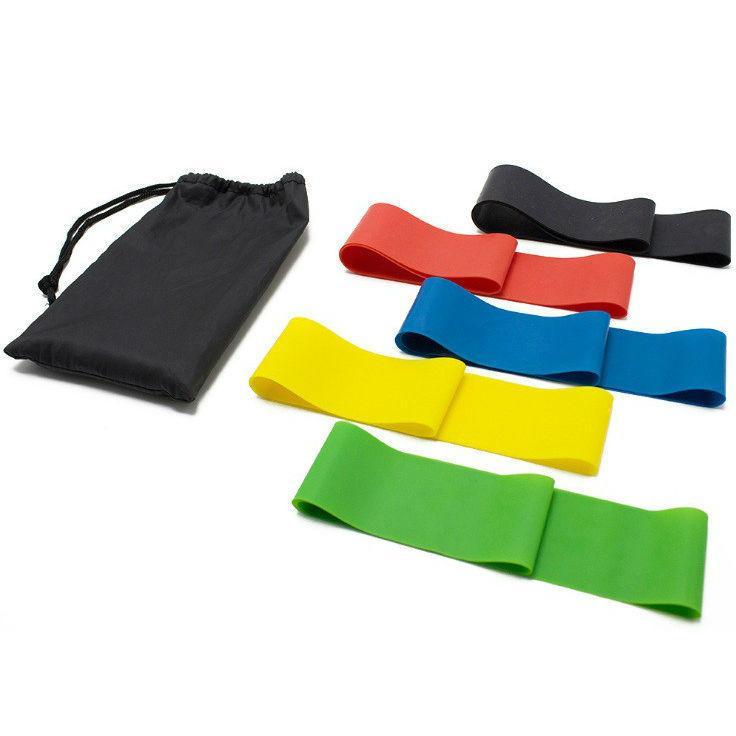 Набор универсальных резинок для фитнеса 5 штук с мешочком для хранения лент