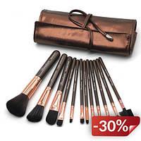 Набор кистей для макияжа в чехле Supretto 12 шт (5517)