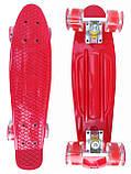 Скейт Penny Board, с широкими светящимися колесами Пенни борд, детский , от 4 лет, Цвет Красный, фото 2