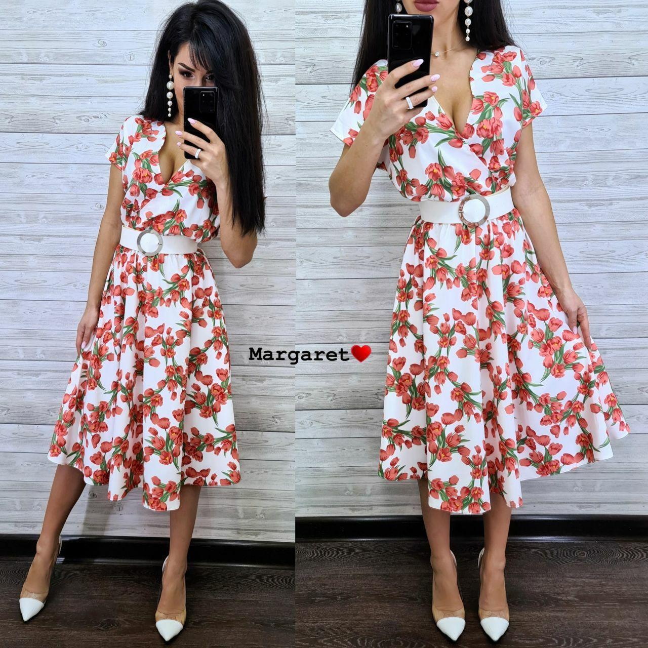Женское  красивое платье-миди с цветочным принтом,пояс в комплекте