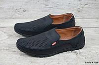 Мужские мокасины в стиле Levis, натуральная кожа, перфорация, черные *** 40(26 см), размеры:40,41,42,45