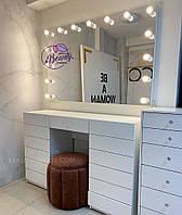 Стол визажиста, гримерный столик с высоким зеркалом, цвет - белый