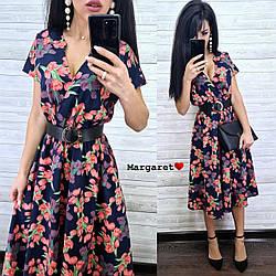 Женское модное платье-миди с цветочным принтом,пояс в комплекте