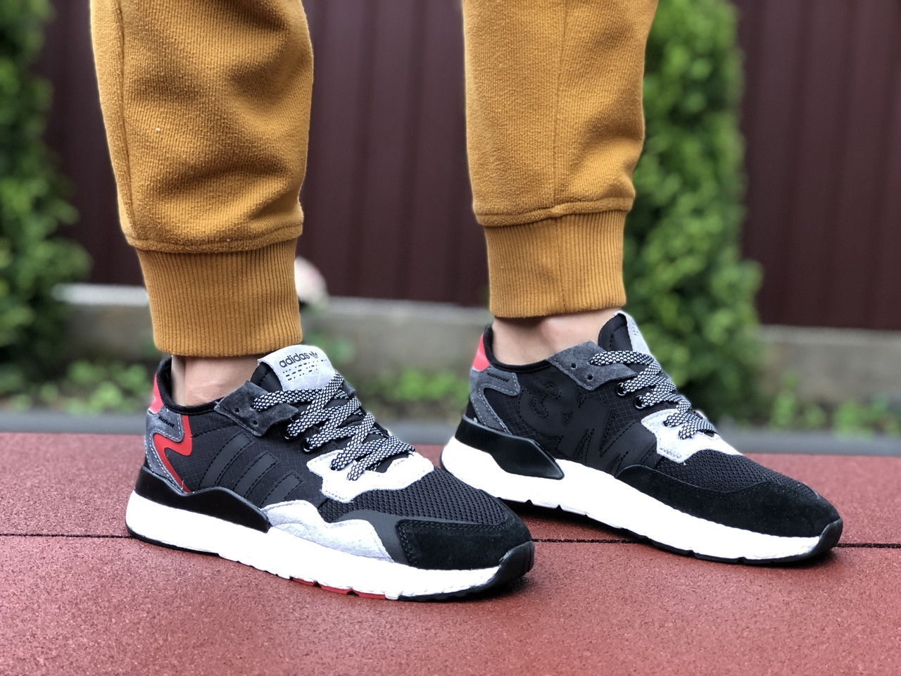 Жіночі кросівки Adidas Nite Jogger Boost 3M (чорно-білі з сірим) 9440