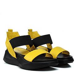 Босоножки женские Aquamarin (кожаные, на платформе, желтого цвета, Турция)