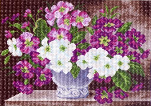 Вишивка нитками, Канва квіти Примула
