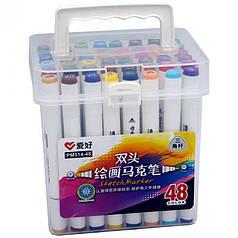 Набор двухсторонних скетч маркеров AIHAO PM514-48, 48 шт.