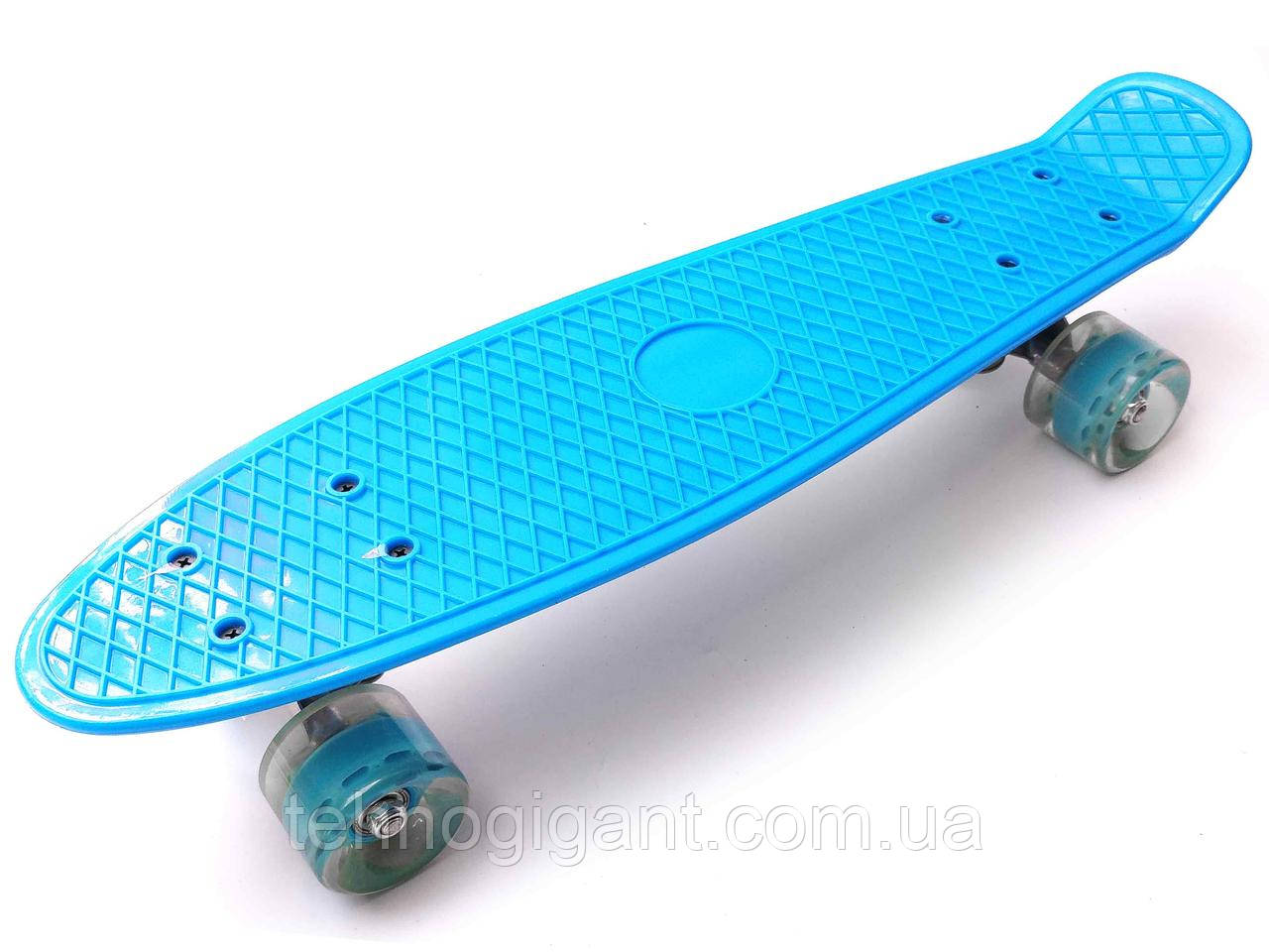 Скейт Penny Board, с широкими светящимися колесами Пенни борд, детский , от 4 лет, Цвет Голубой