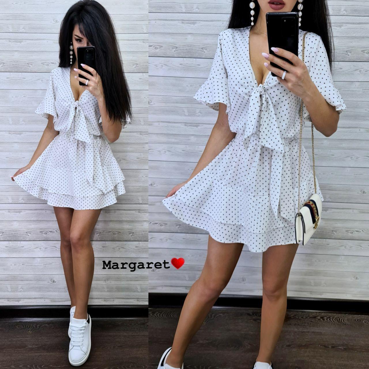 Женское короткое платье в горошек,белого цвета