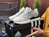 Женские кроссовки Adidas Nite Jogger Boost 3M (серо-белые) 9441