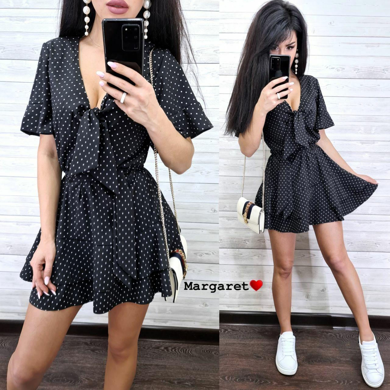Женское стильное черное платье в горошек