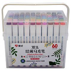 Набор двухсторонних скетч маркеров AIHAO PM508-60, 60 шт.