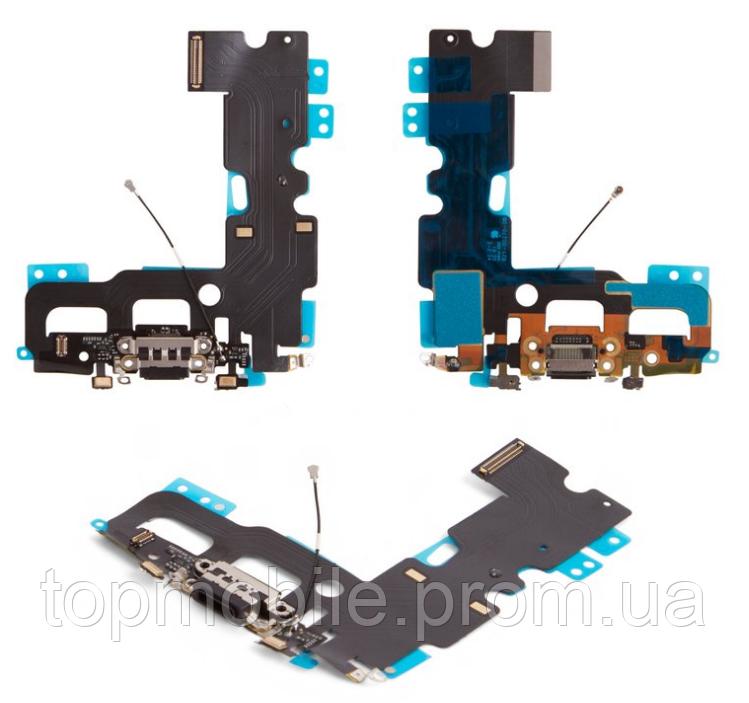 Шлейф для iPhone 7, с разъемом зарядки, с коннектором наушников, с микрофоном, черный, оригинал (Китай)