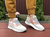 Женские кроссовки Adidas Nite Jogger Boost 3M (белые с пудрой) 9444