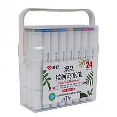 Набор двухсторонних скетч маркеров AIHAO PM508-24, 24 шт.
