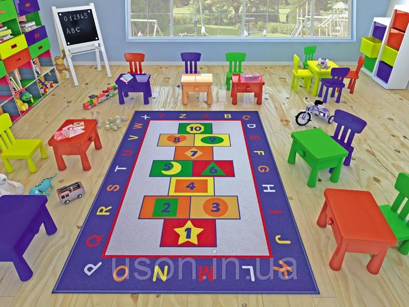 Напольный коврик в детскую комнату Confetti 100*150 Game синий
