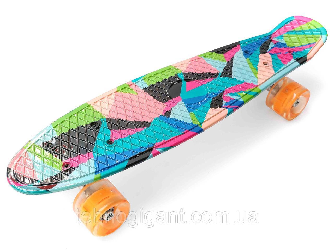 Скейт Penny Board, с широкими светящимися колесами Пенни борд, детский , от 4 лет, расцветка Ромбы