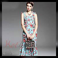СарафанDolce&Gabbana  из кади с принтом в розы . Люкс качество (L размер)