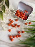 Круглые бусины оранжевого цвета из дерева, 60 шт,  диаметр - 0,8 см., 15 гр., фото 4