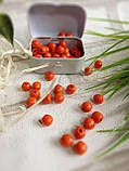 Круглые бусины оранжевого цвета из дерева, 60 шт,  диаметр - 0,8 см., 15 гр., фото 2