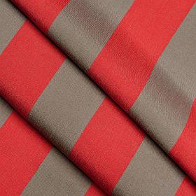 Ткань для улицы в широкую полосу Дралон Listado Темно-бежевый, Красный