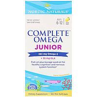 Рыбий Жир для Подростков, Вкус Лимона, Complete Omega Junior, Nordic Naturals, 283 мг, 180 Капсул