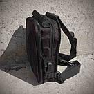 Черная тактическая сумка-рюкзак, барсетка на одной лямке + USB выход. T0445 Vsem, фото 7