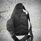 Черная тактическая сумка-рюкзак, барсетка на одной лямке + USB выход. T0445 Vsem, фото 8