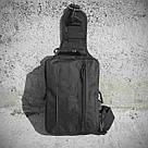 Черная тактическая сумка-рюкзак, барсетка на одной лямке + USB выход. T0445 Vsem, фото 10