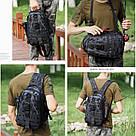Черная тактическая сумка-рюкзак, мессенджер, барсетка. TOPvse, фото 3