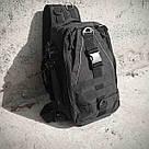 Черная тактическая сумка-рюкзак, мессенджер, барсетка. TOPvse, фото 5