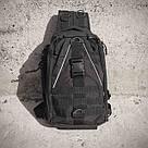 Черная тактическая сумка-рюкзак, мессенджер, барсетка. TOPvse, фото 8