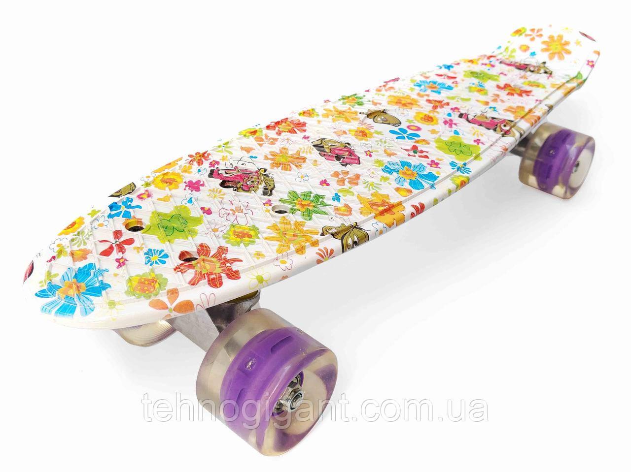 Скейт Penny Board, с широкими светящимися колесами Пенни борд, детский , от 4 лет, расцветка Ромашки