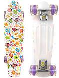 Скейт Penny Board, с широкими светящимися колесами Пенни борд, детский , от 4 лет, расцветка Ромашки, фото 2