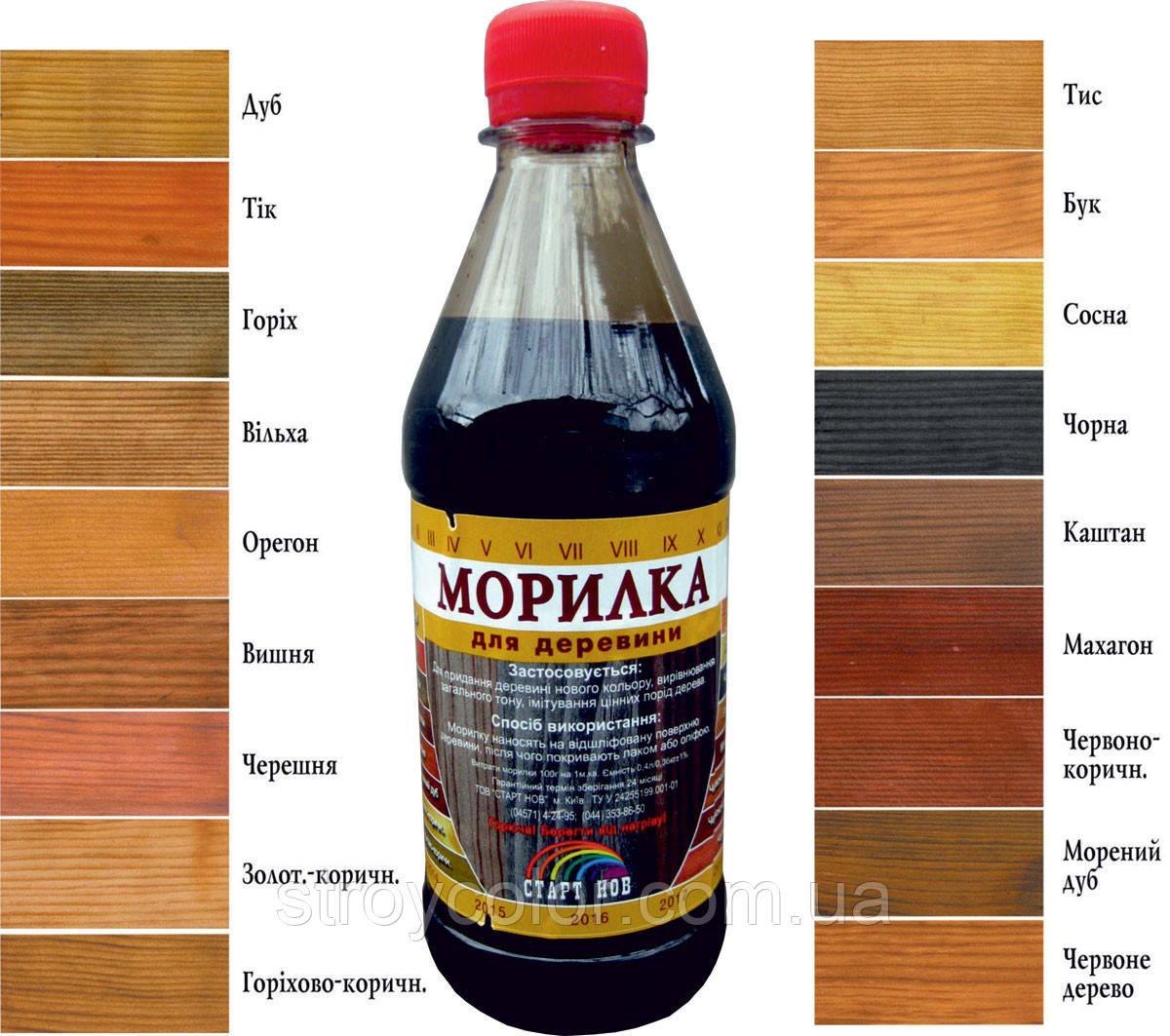 Морилка спиртовая Орехово-коричневая Старт НОВ 0,4 л. (Марилка для дерева)