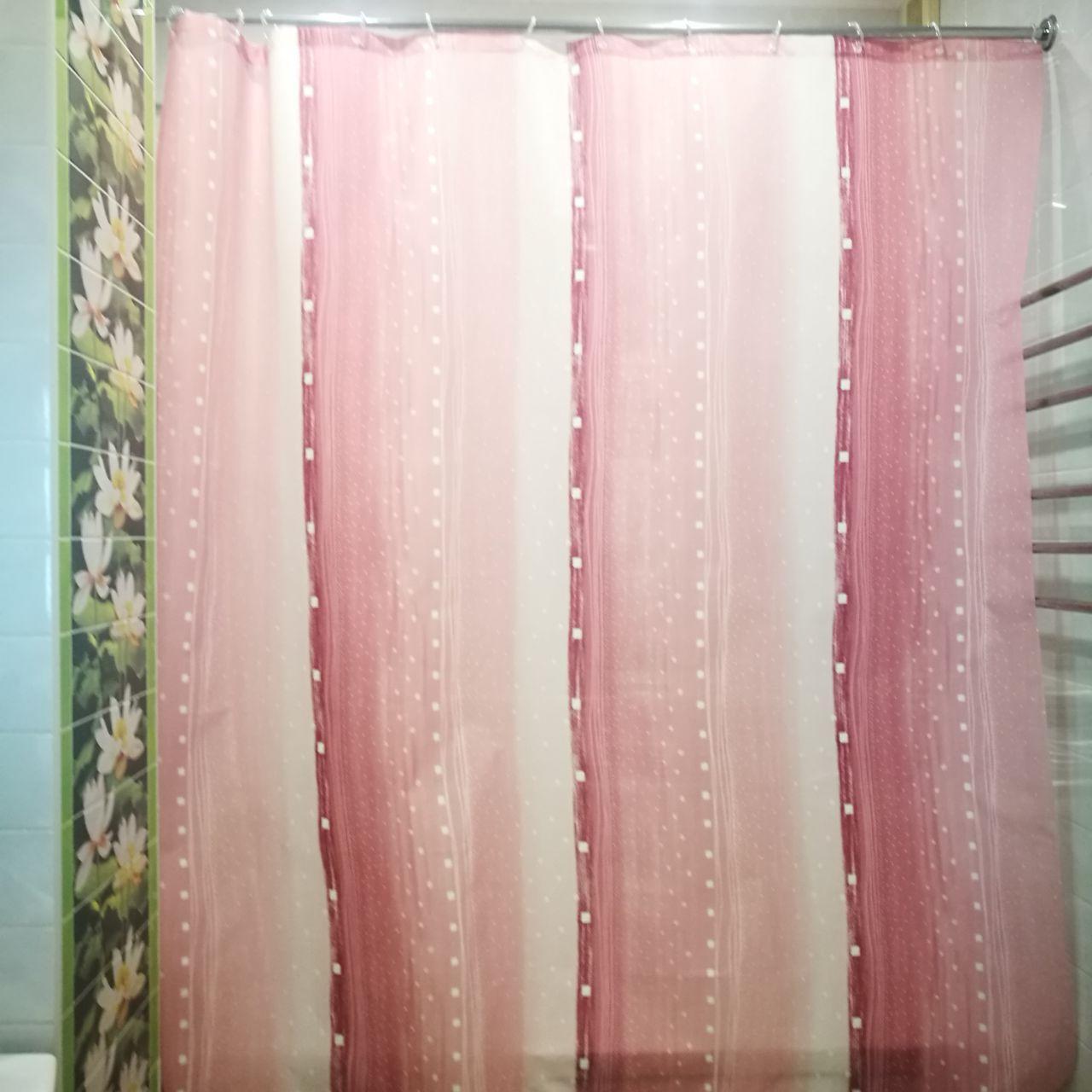 """Штора в ванную текстиль точный размер 180x200 см """"Дождь"""" цвет розовый"""