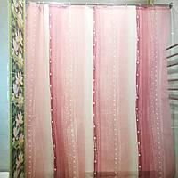"""Штора в ванную текстиль точный размер 180x200 см """"Дождь"""" цвет розовый, фото 1"""