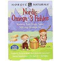 Конфеты в виде рыбок, Nordic Omega-3 Fishies, Nordic Naturals, 300 мг, 36 Рыбок