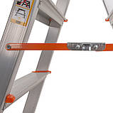 Стремянка двусторонняя алюминиевая Laddermaster Polaris A5A5. 2x5 ступенек, фото 5