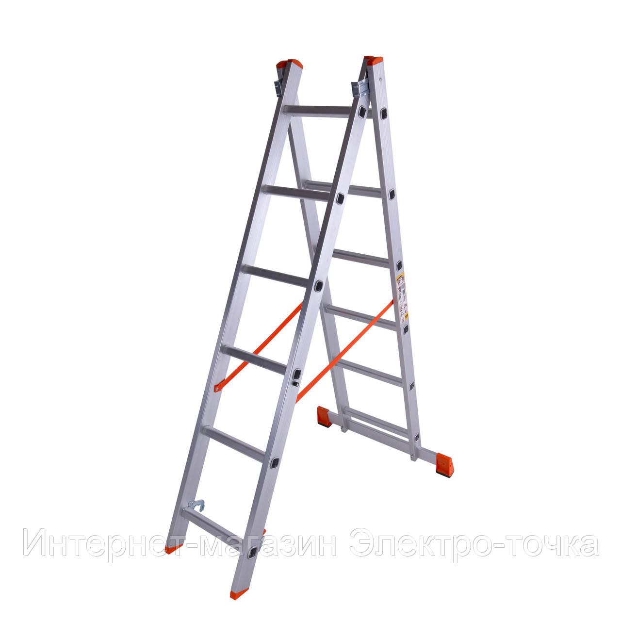 Лестница двухсекционная алюминиевая 6 ступеней Laddermaster Sirius A2A6
