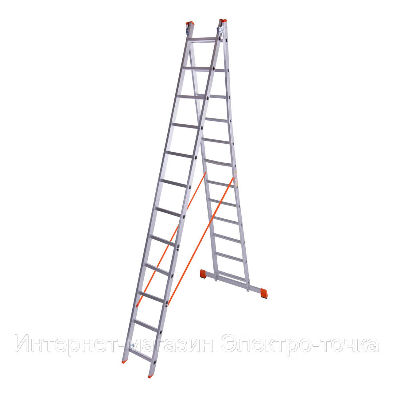 Лестница алюминиевая двухсекционная 12 ступеней Laddermaster Sirius A2A12