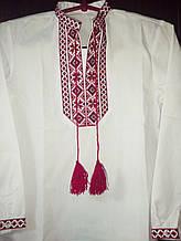 Мужская детская вышиванка с красной вышивкой - размер (8 лет)