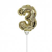 Шарик цифра в торт золото 3