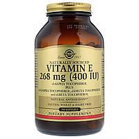 Витамин Е 400 IU, Solgar, 250 желатиновых капсул