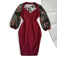 Платье бордовое с вышитыми по сетке рукавами