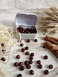 Дерев'яні бусіни вишнево-коричневого кольору, 60 шт,  діаметр - 0,8 см., 15 грн., фото 3