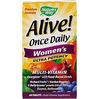Мультивитамины Для Женщин, Nature's Way, Alive! Ultra Potency Multi-Vitamin, 60 Таблетки